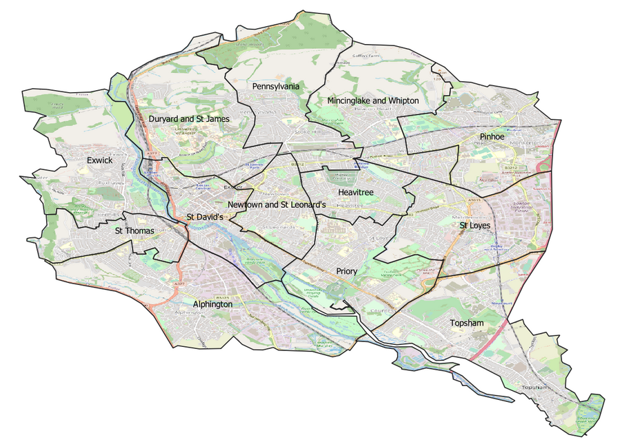 Exeter City Council ward boundaries (Contains OS data © Crown copyright and database right 2021)